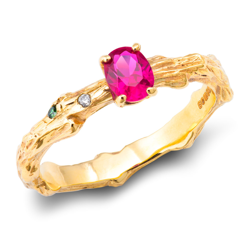 9ct yellow gold, lab-created ruby & diamond ring - £545