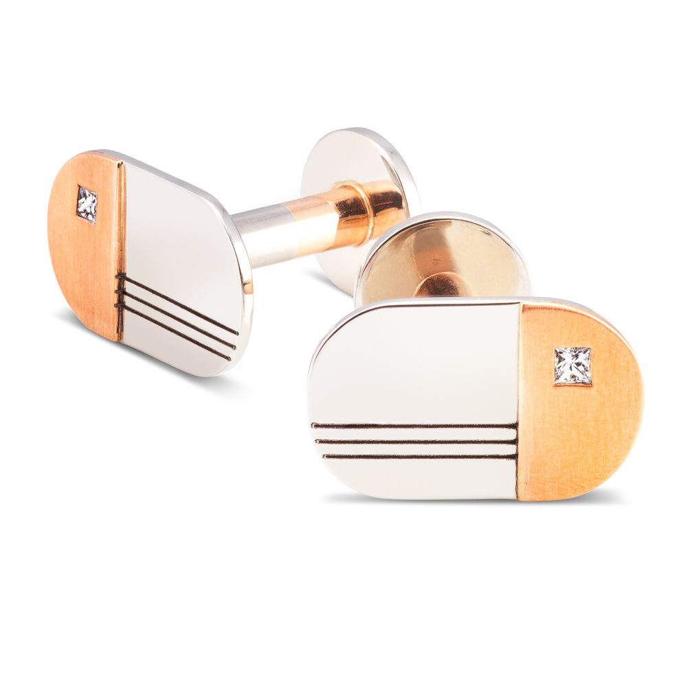 Palladium, 9ct rose gold and diamond cufflinks - £1,970