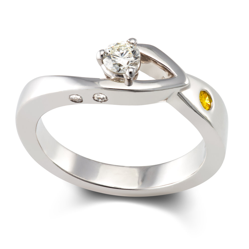 18ct white gold, diamond and natural yellow diamond engagement ring - £2,195
