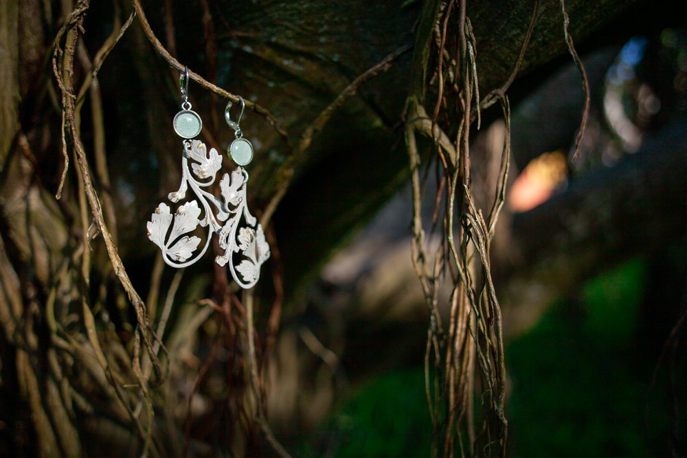joeyfivecents  vine earrings among the mangroves at sunset.