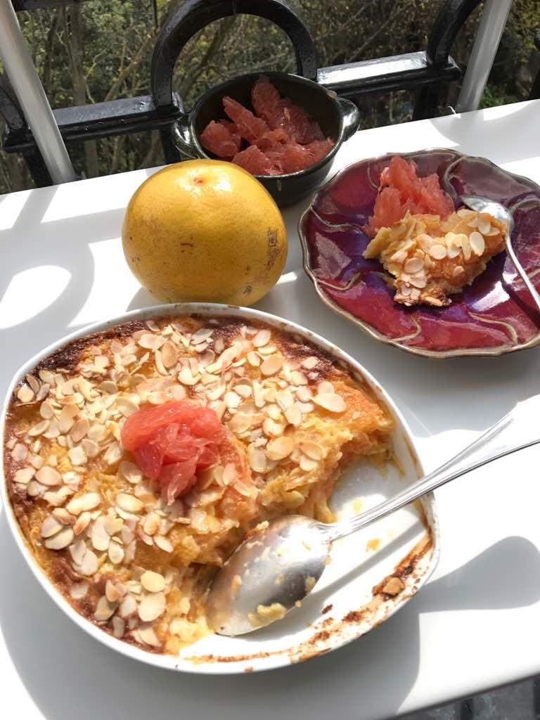 Grapefruit clafoutis