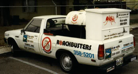 One of the original Eco-Safe Roach Busters truck. Notice the Eco-Safe on the back and side? We also have the same phone number, just with an area code now!