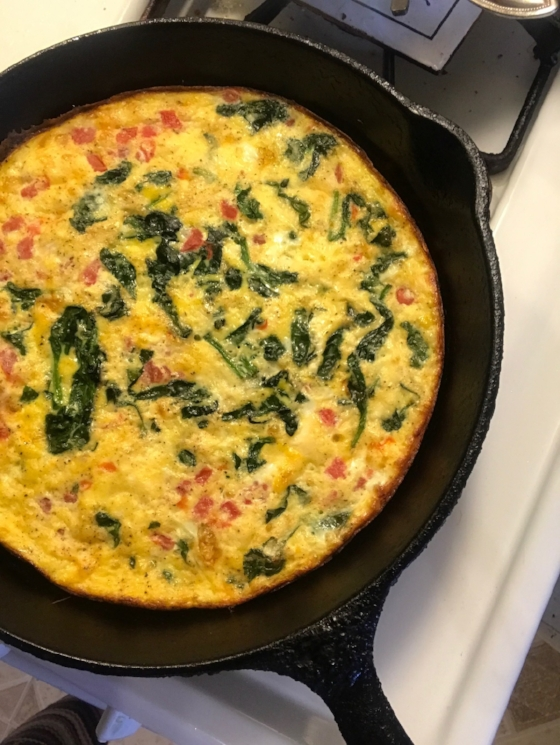 Here's an egg, spinach, feta, and tomato frittata I made on the fly a few weeks ago.