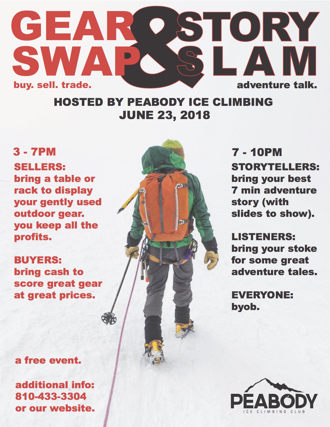 GEAR SWAP & STORY SLAM — Peabody Ice Climbing