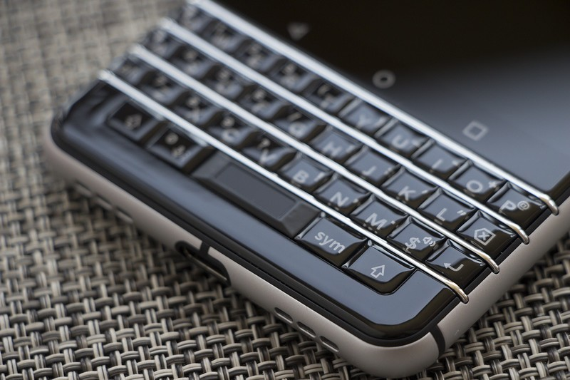 The KEYone's physical keyboard up close and personal.
