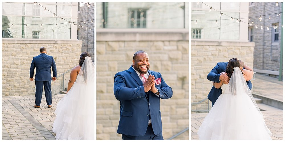 St. Aloysius Chapel first look with dad the center downtown cincinnati wedding photographer ji cherir photography