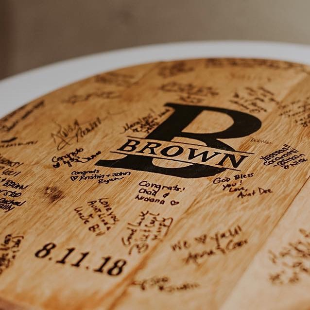 What do you do when you get married in a winery? 🍷💍 Have your guests sign a wine barrel in lieu of a guestbook of course! . I sealed and hand-painted this keepsake that now hangs in this couple's home. A constant reminder of such a happy day. 💕🥂 . 📸: @connectionphotography . #wedding #weddingday #guestbook #winery #winerywedding #handlettering #handlettered #handletter #modernlettering #weddingguest #cbus #event #eventdecor #columbus #weddingdecor #theknotohio
