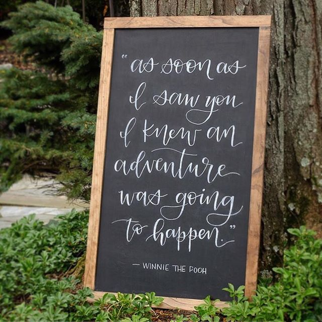 I absolutely love this quote and thought it was an especially fitting request for an adorable Classic Pooh themed 1st birthday celebration! I can't even begin to imagine how adventurous the first year of parenthood is! 😅👶🏻❤️ . #handlettering #handlettered #party #partydecor #event #eventdecor #quote #quotes #winniethepooh #firstbirthday #1stbirthday #oneyearold #adventure #calligraphy #moderncalligraphy #modernlettering #handmade