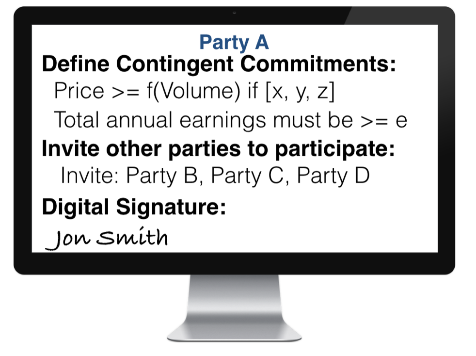 A pharma company, payer or a third party can initiate a deal on the Exchange.   1. Party A defines their position with contingent commitments —  some public and some private — then affixes digital signature and invites other parties to participate.