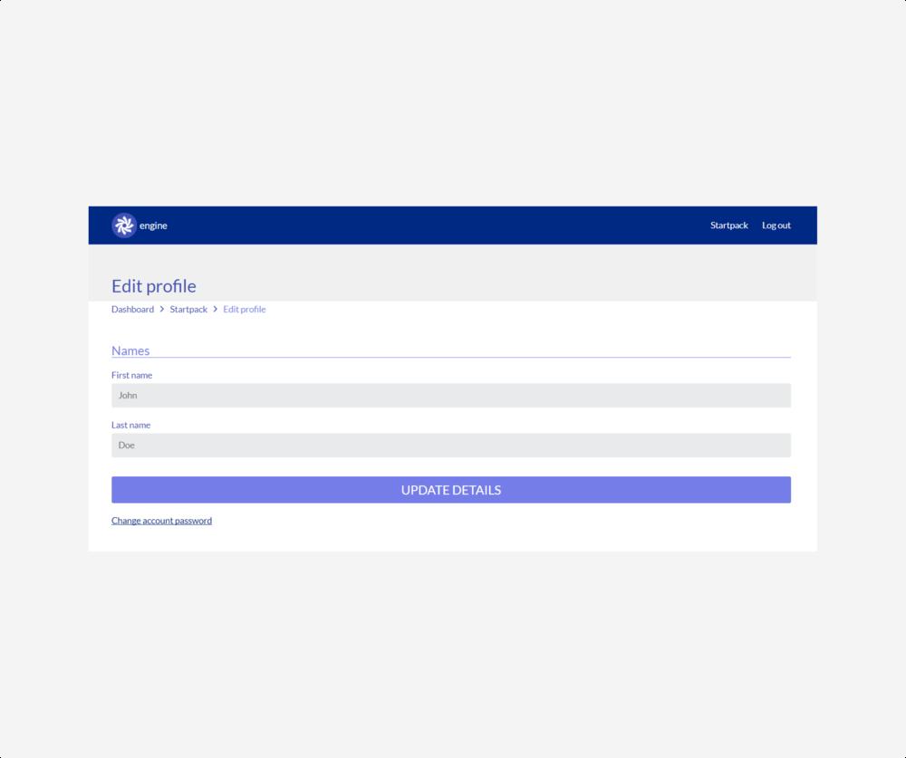 startpack - edit profile