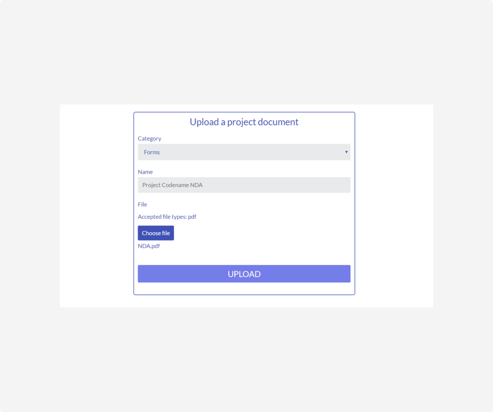 project - upload form