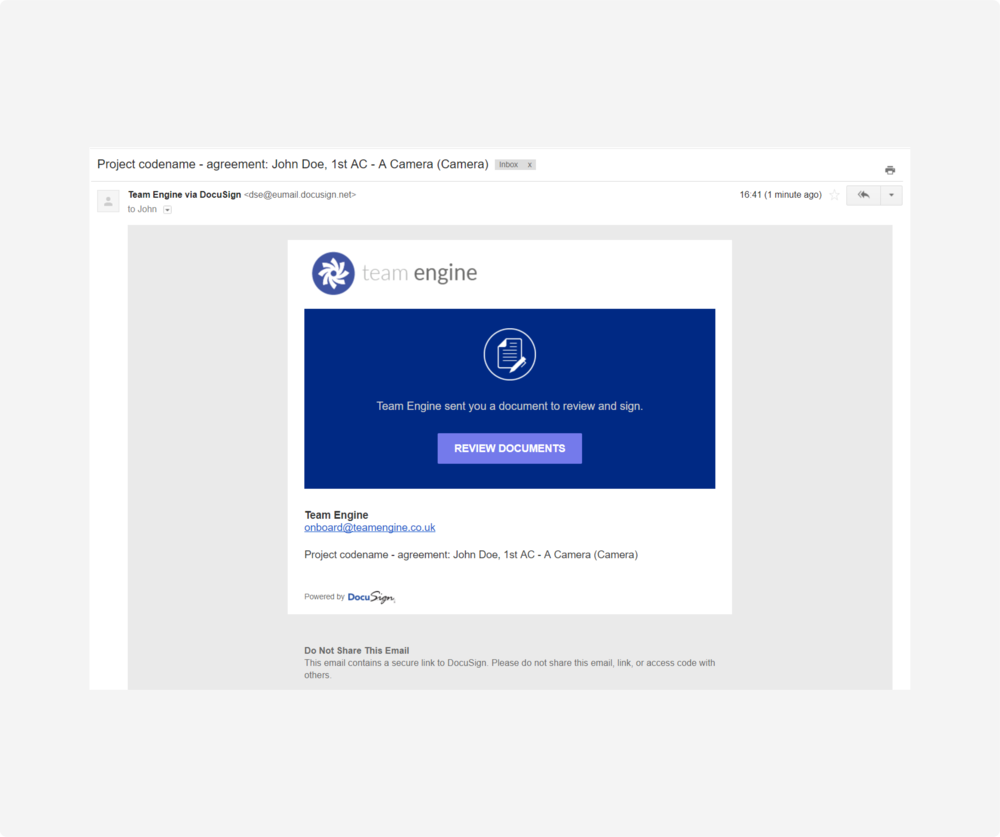 connect - docusign email