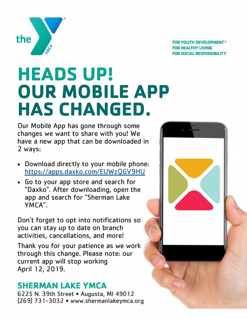 Shrman Lake YMCA Mobile App Flyer New App.jpg