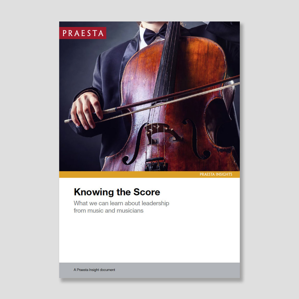 Knowing the Score   What we can learn about leadership from music and musicians   One way to approach the challenge of leadership is to learn from other fields. We see leadership, like music, as a discipline: as a contribution, and not a position in a hierarchy.   Download PDF