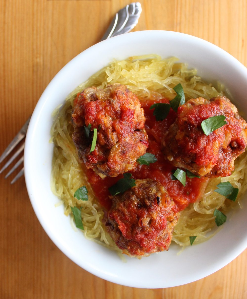 Yellow Squash Spaghetti with Meatballs -