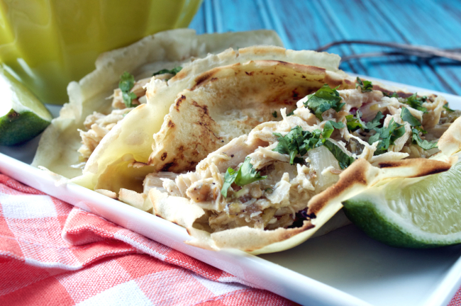 Crockpot Hatch Green Chile Chicken Tacos -