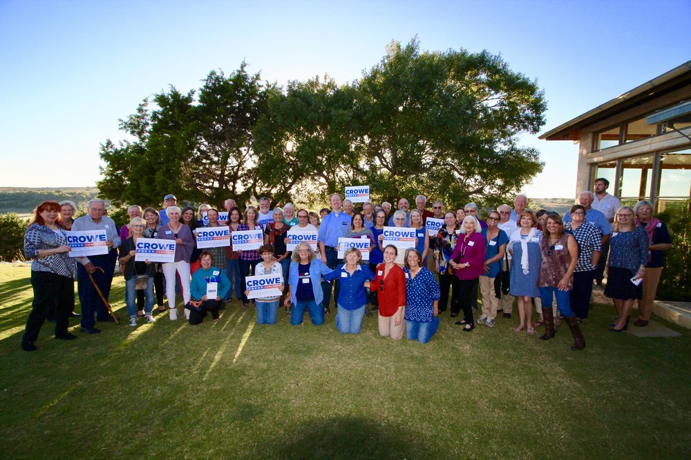 Supporters in the Hill Country rally for Crowe for Congress on 22 Oct 2017.