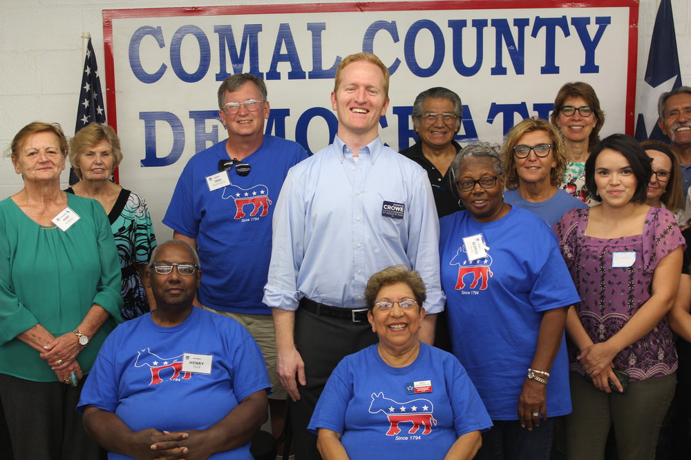 Derrick Crowe attends a meeting of the Comal County Democrats.