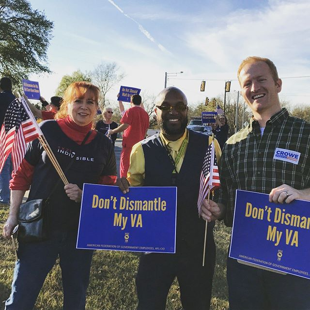 """I was proud to stand with the leaders of @afgeunion in Kerrville today as we said """"Staff the VA!"""" With 49,000 positions unfilled, it's clear that Congress and the White House are not making a functioning VA a priority for our vets or the VA's employees. We can do better! Staff the VA!"""