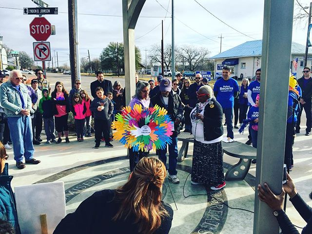 I was honored to join the people of San Marcos at their #enhancethedream event as they laid a wreath at the MLK/LBJ crosssroads and then joining folks at the Greater Bethel Baptist Church for a discussion about Dr. King and the work left to do. #croweforcongress #tx21