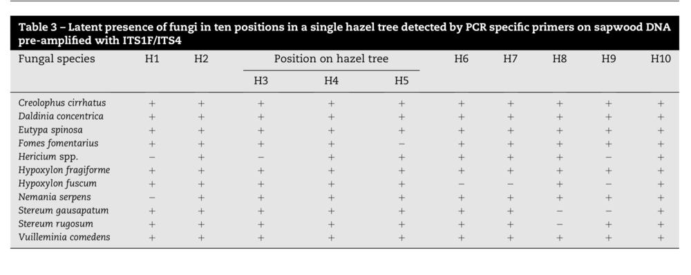 The diverse fungi within a single hazel tree using only 11 primers.  Parfitt et al. 2010.