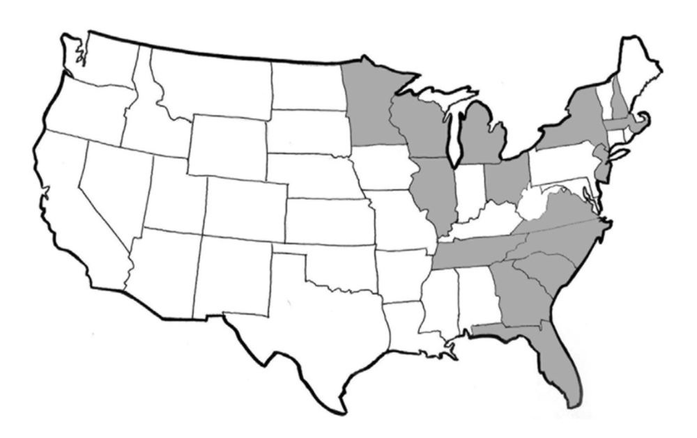 The known distribution of  O. ophiodiicola  back in 2014. It has since spread to more states.  Allender et al. 2015 .