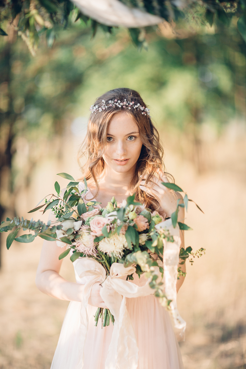Bride with Bouquet Boho The Main Event Florals