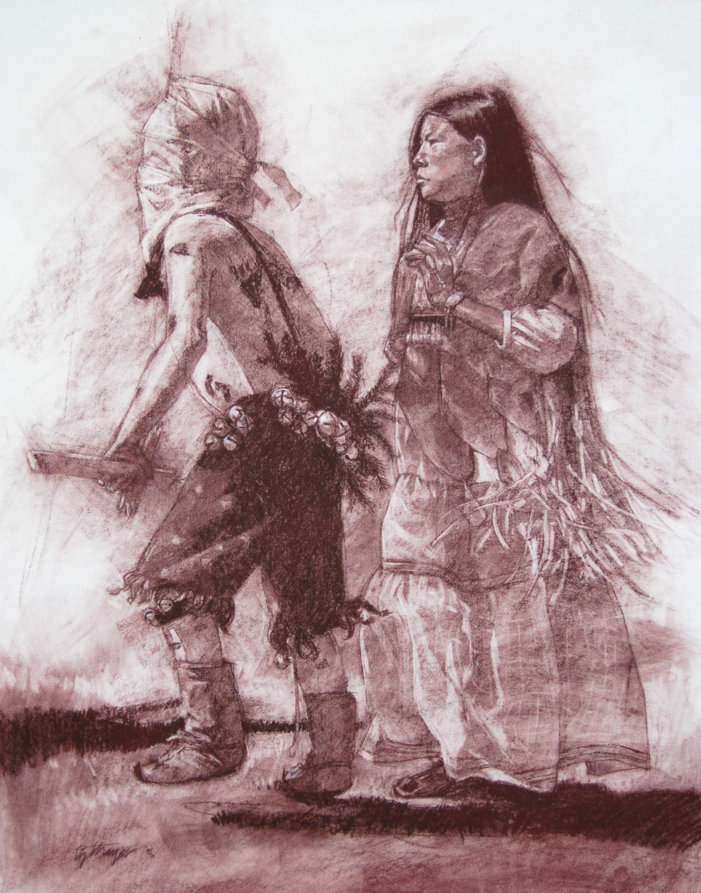 Native Dance  (2006) by Elizabeth Thayer. 18 x 24 in. Nupastel on Paper.