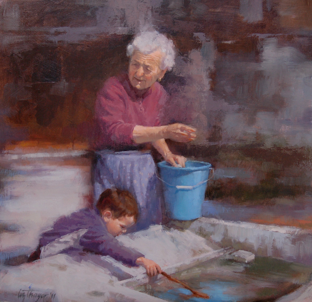 Wash Day  (2013) by Elizabeth Thayer. 15 ¾ x 15 ¾ in. Oil  on Board.