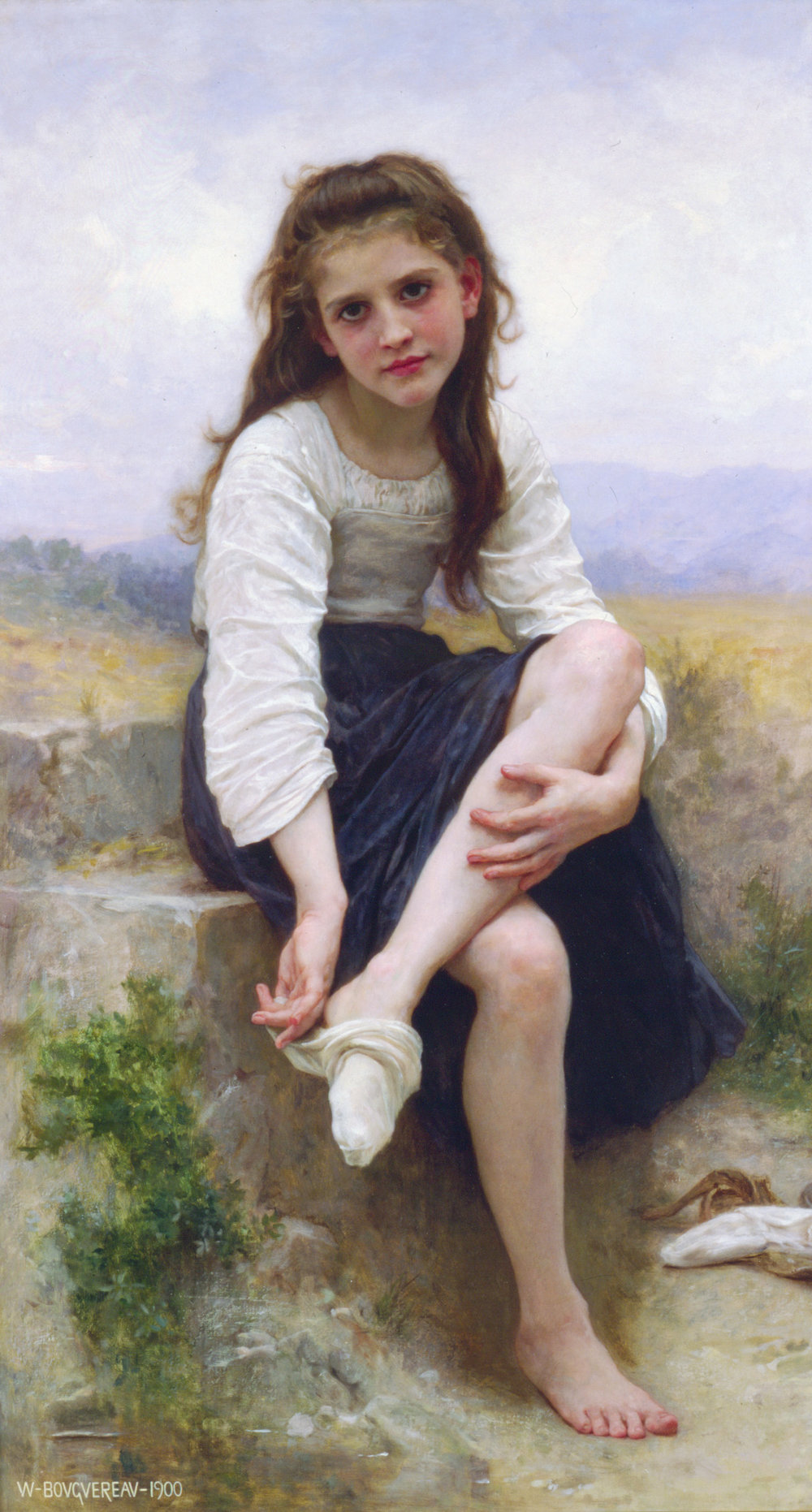 William Adolphe Bouguereau (French,1825 - 1905), Before the Bath, Oil on Canvas, 53 x 29 ½ in.