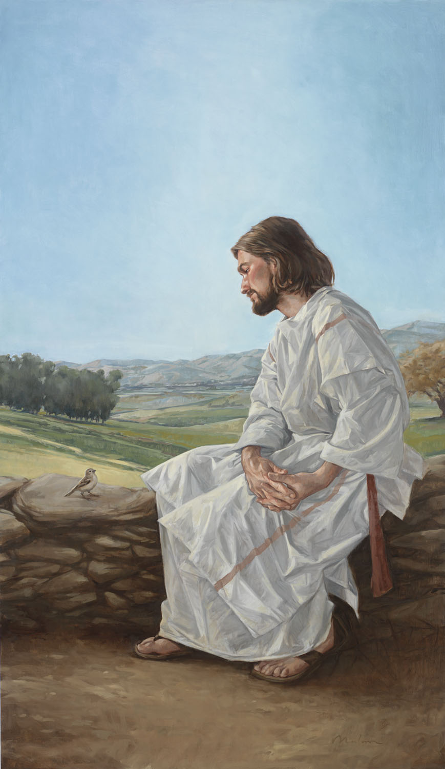 David Malan (American, b. 1980), Christ & the Sparrow, Oil on Canvas, 42 x 24 in.