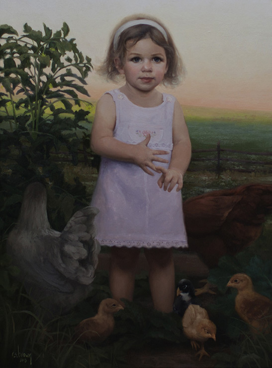 Ryan Brown (b. 1977)  Charlotte's Chickens,  Oil on canvas. 30 x 20 in.