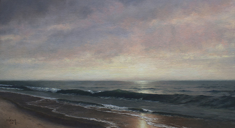 Ryan Brown (b. 1977) Sunset over the Pacific, Oil on panel. 20 x 30 in.
