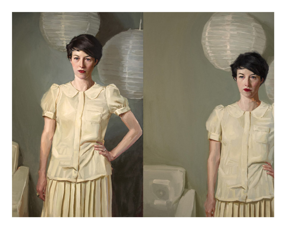 Mary Sauer (b. 1986)  Comparison Diptych  (2015) Oil on canvas. Two canvases. 30 x 40 in. each.
