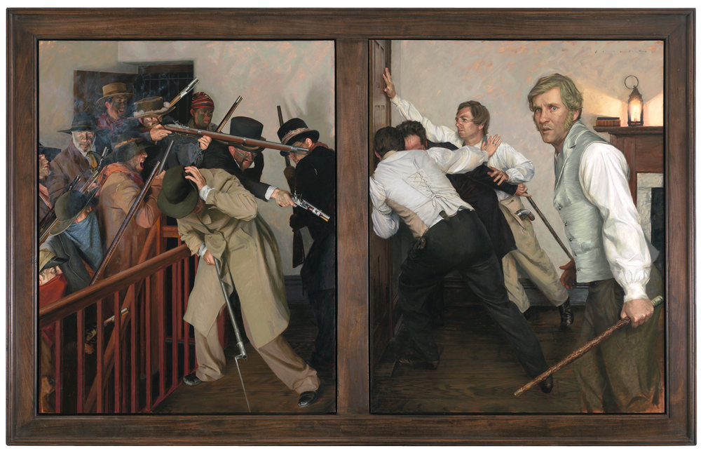 Casey Childs (b.1974)  Greater Love Hath No Man  (2010-14) Oil. 60 x 96 in. Church History Museum, Salt Lake City