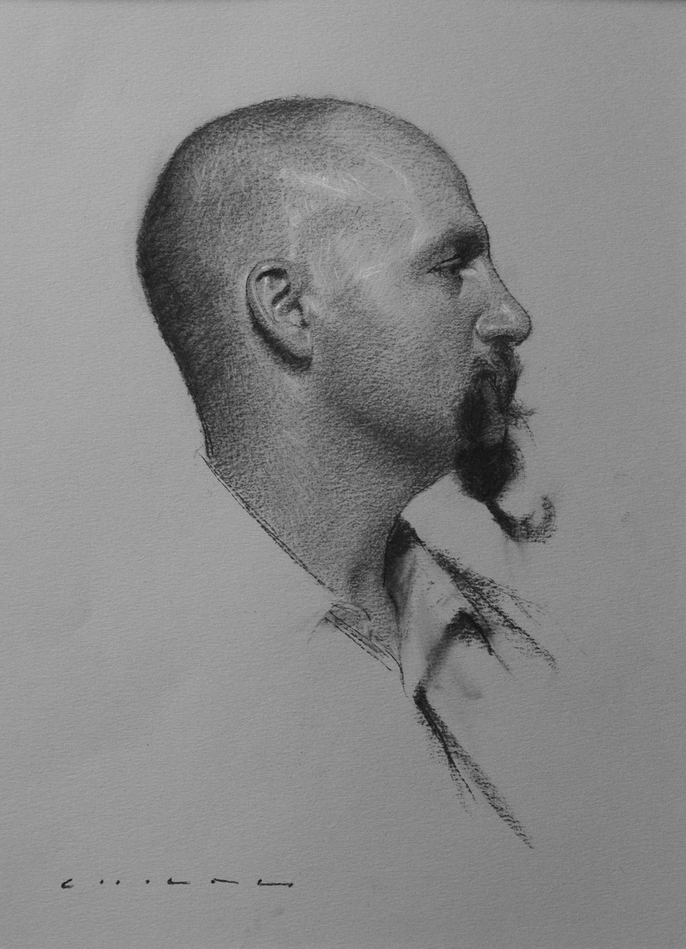 Casey Childs (b. 1974) Ivan (2015) Charcoal on paper. 13 x 9 1/2 in.