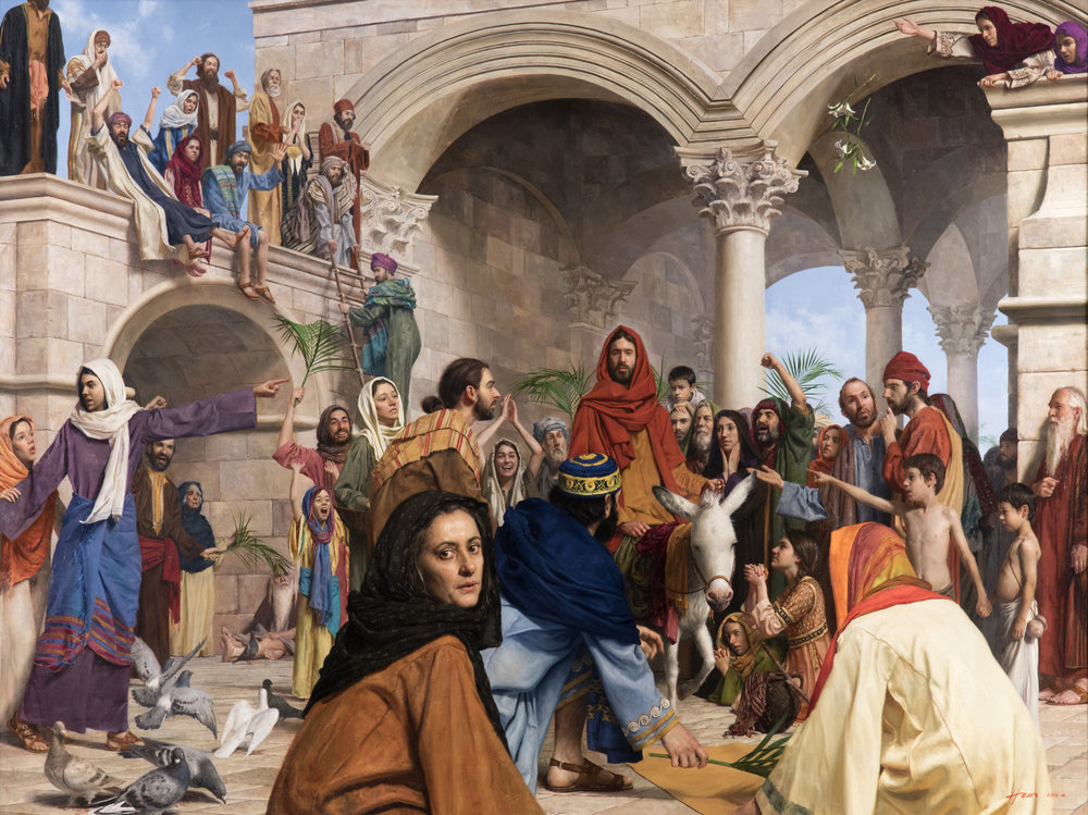 Triumphal Entry  (2016) by Jeff Hein. Oil on Linen. 54 x 72 in. LDS Church Collection.
