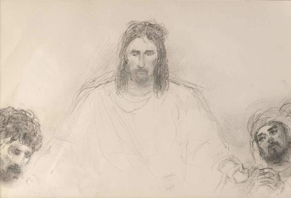 Apostles at Christ's Ascension  by ARNOLD FRIBERG. Graphite on Paper. 12 x 17 in.