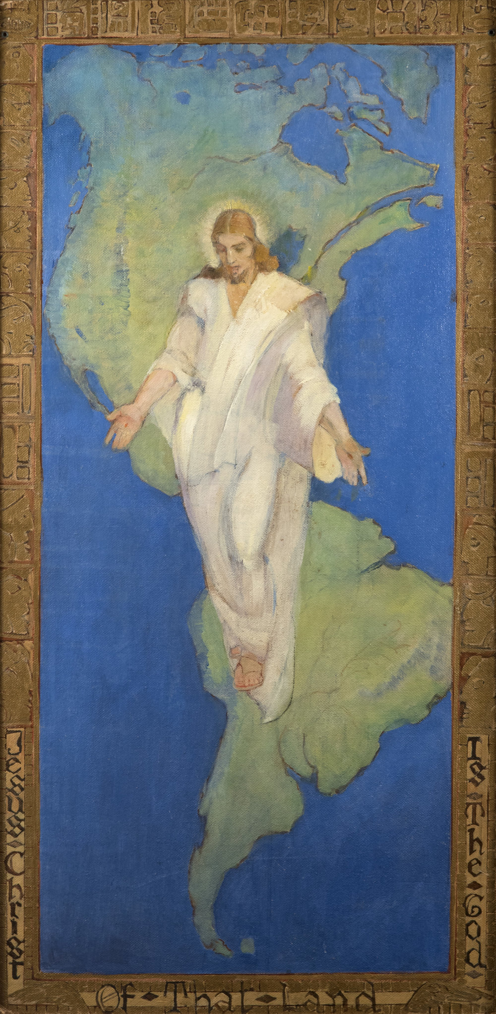 Jesus Christ is the God of that Land  by MINERVA TEICHERT .   Oil on Board. 48 x 24 in. Collection of Springville Museum of Art