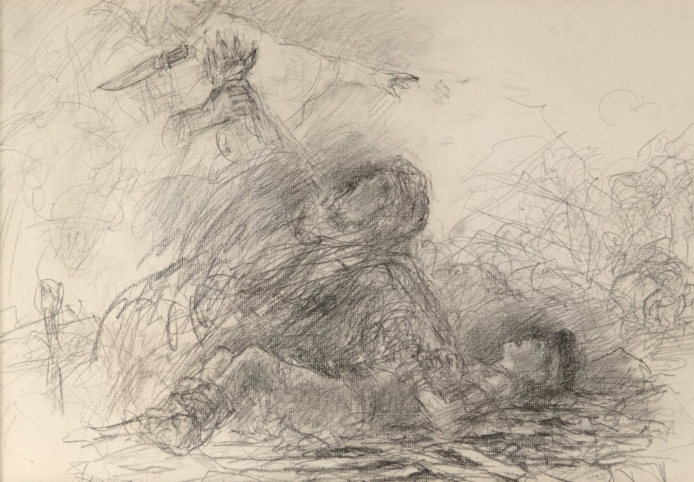 Sacrifice of Isaac by ARNOLD FRIBERG. Graphite on Paper. 12 x 17 in.