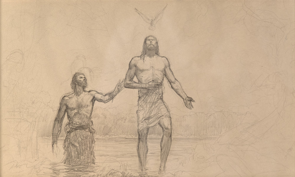 Baptism of Christ  by ARNOLD FRIBERG. Graphite on Paper. 9 x 15 in.