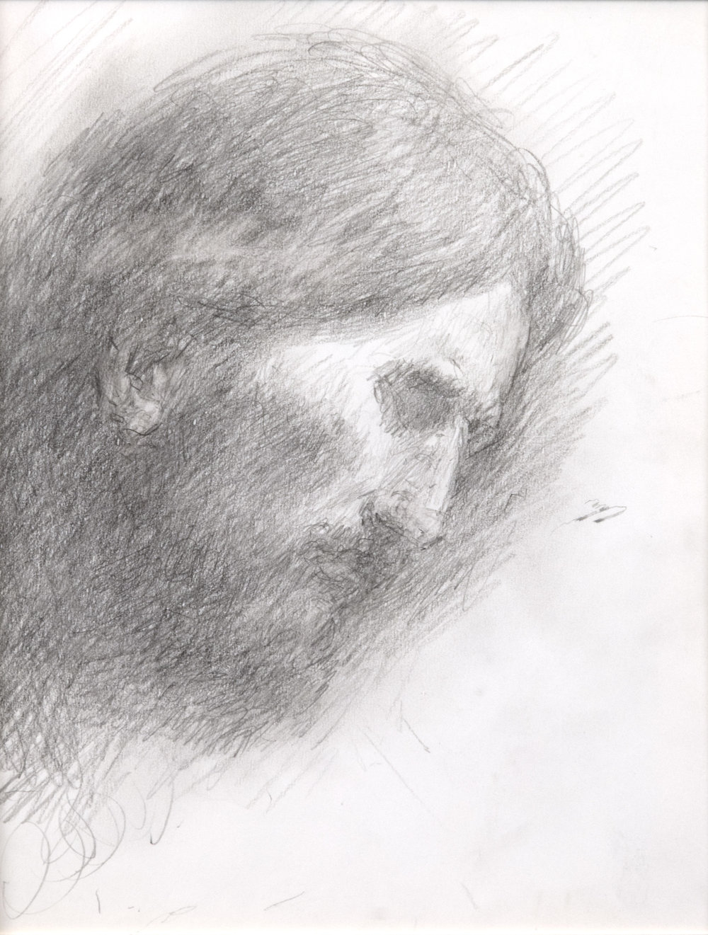 Head of Christ  by ARNOLD FRIBERG. Graphite on Paper. 10 x 8 in.