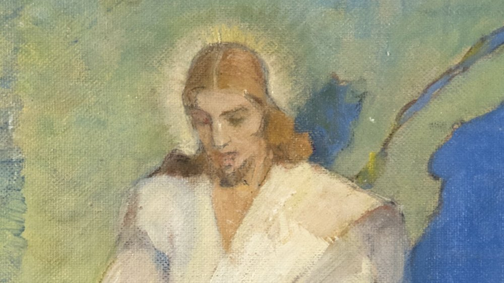Detail from Jesus Christ is the God of that Land by MINERVA TEICHERT.  Oil on Board. 48 x 24 in. Collection of Springville Museum of Art