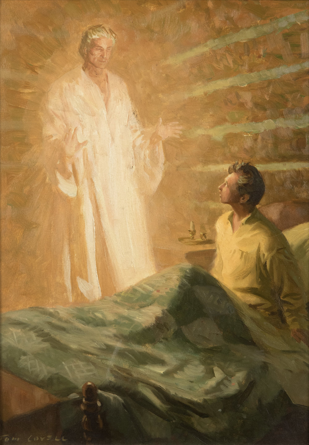 Moroni Appearing to Joseph Smith by Tom Lovell. Oil on Linen, 14 ½ x 10 in.