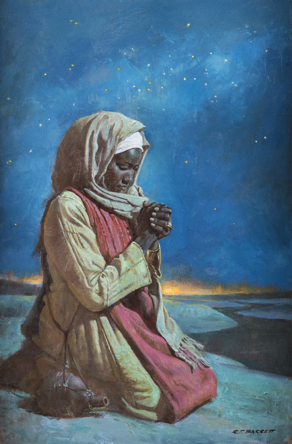 He'll Hear My Prayer  by Robert T. Barrett  .   Oil on Linen. 36 x 24 in.