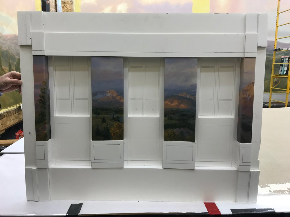 Before beginning a mural, Christensen produces scale models, affixed to foam core to present to the relevant authorities to help mock up a version of each room for the proposed temple.