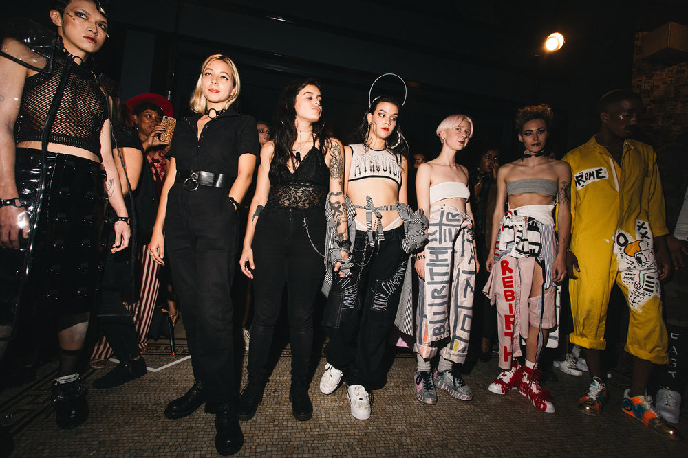 MI and Kristen (2nd and 3rd from right) after OR debut at DRØME's NYFW September 2017 fashion show at the Ace Hotel