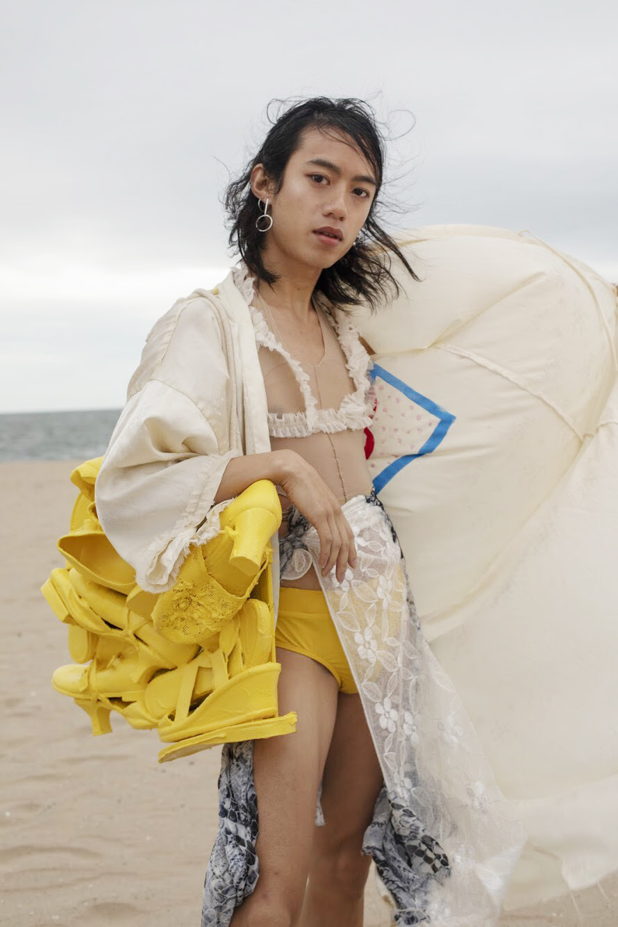 "yen in ""queer the beach"" OR's non-binary swimwear collection featured in PAPER"