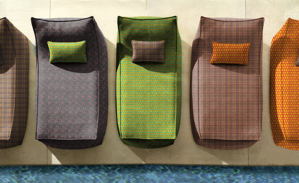 My BFA portfolio collection of hand wovens and digital prints on linen texture mapped on indoor/outdoor furniture and home products using Adobe Photoshop.