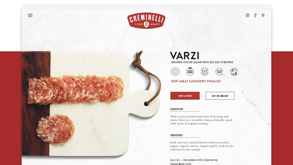 Creminelli Website Product Page